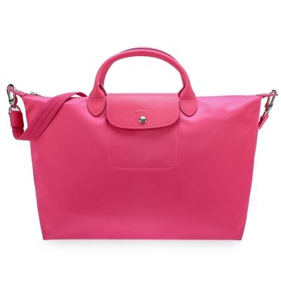 Longchamp Le Pliage Neo 短把大型水餃兩用包-櫻花粉