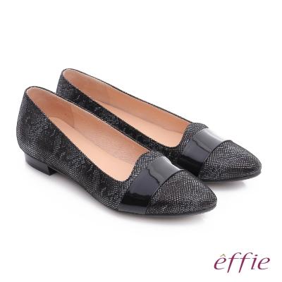 effie 都會舒適 絨面羊皮寬條帶低跟通勤鞋 黑色
