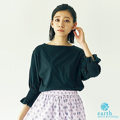 earth music 糖果縮袖設計船形領落肩純棉上衣