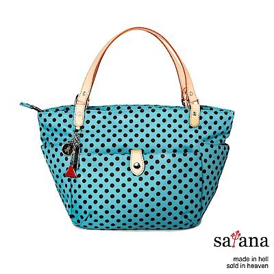 satana - 簡潔設計中型手提包 - 薄荷藍圓點