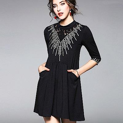 ABELLA 艾貝拉 擴散幾何圖騰蕾絲拼接七分袖洋裝(二色/S-XL)