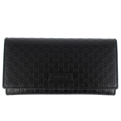 GUCCI Guccissima 黑色厚質真皮壓紋押扣多隔層長夾