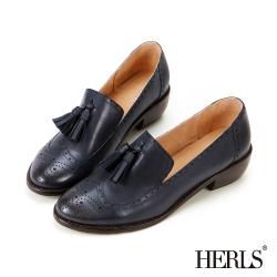 HERLS 全真皮雕花流蘇樂福低跟鞋-藍色
