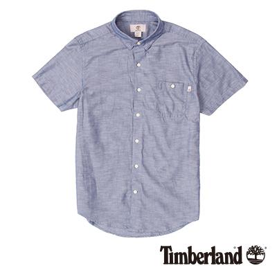 Timberland-男款湛藍色單口袋素面短袖襯衫