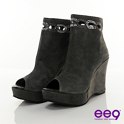 ee9 神秘華麗-高貴鑽飾楔型魚口後拉鍊個性短靴-迷魅灰