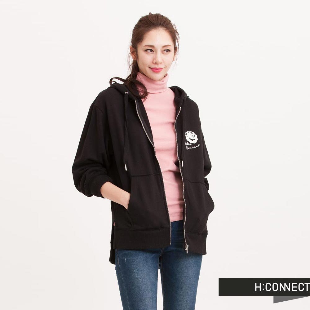 H:CONNECT 韓國品牌 女裝 - Retro側開衩連帽外套 - 黑色