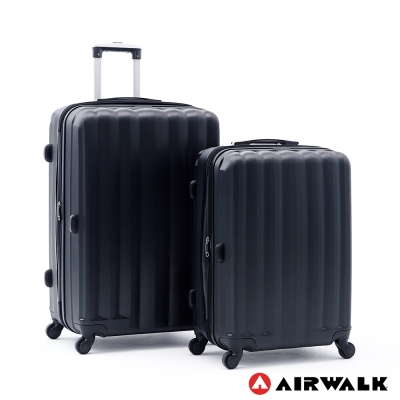 AIRWALK 海岸線系列BoBo經濟款ABS硬殼拉鍊24+28吋兩件組行李箱 黑水黑