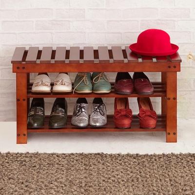 澄境 日式低甲醛加厚實木穿鞋椅(80X30X42cm)-DIY-胡桃色