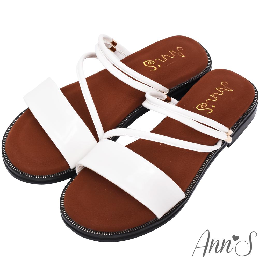 Ann'S乾淨簡單-素面兩穿氣墊寬版平底涼鞋-白