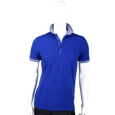 TRUSSARDI 藍色線紋滾邊短袖POLO衫