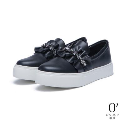達芙妮x高圓圓 圓漾系列 休閒鞋-荷葉邊水鑽厚底懶人鞋-黑