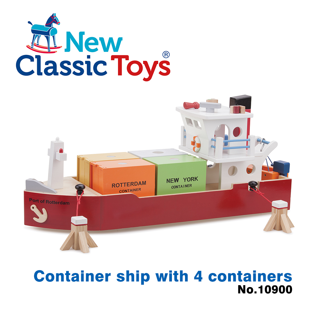 荷蘭New Classic Toys貨櫃系列-木製裝運貨櫃船玩具 - 10900