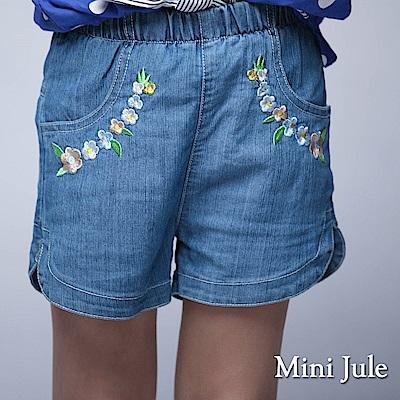 Mini Jule 童裝-短褲 花朵刺繡側開衩鬆緊短褲(藍)