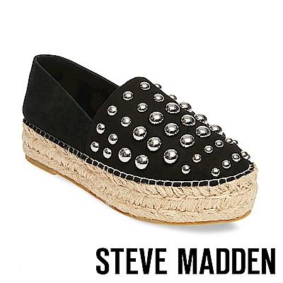 STEVE MADDEN-PITCH 鉚釘麻編厚底便鞋-黑色