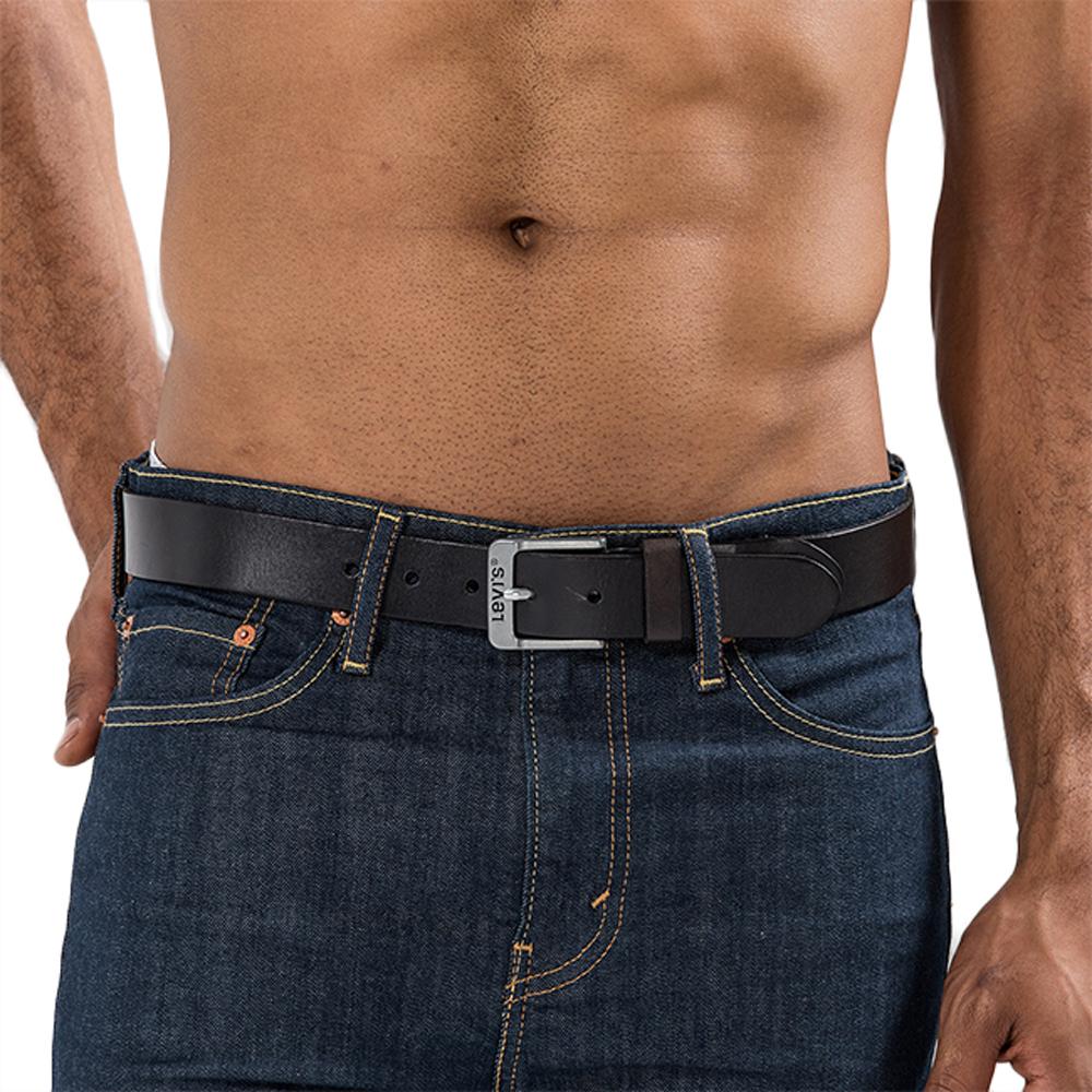 Levis 男款LOGO黑色針扣腰帶皮帶