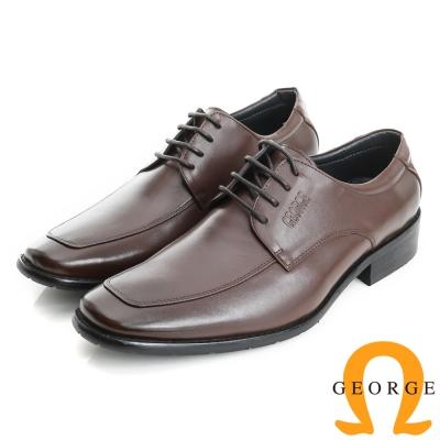 GEORGE 喬治-經典系列 素面牛皮小方楦紳士鞋皮鞋(男)-棕色