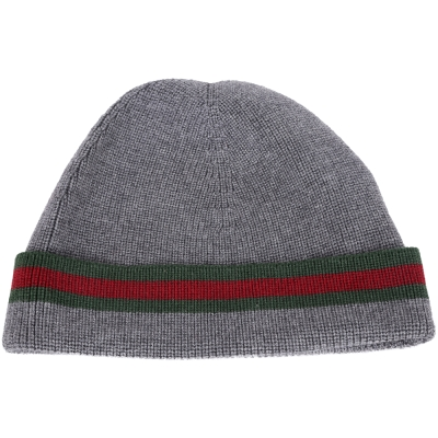 GUCCI 經典綠紅綠織紋反褶喀什米爾毛線帽(灰色/70%LANA)