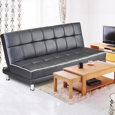 日系Melonpan三人椅皮革沙發床-黑色