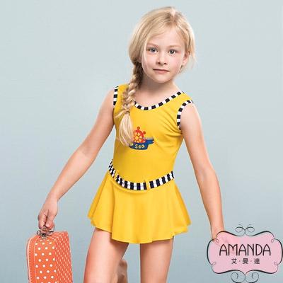 AMANDA 女童泳裝 連身裙-活麗黃-17801附帽