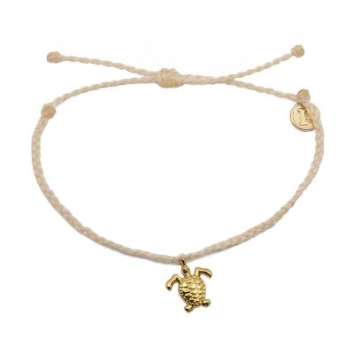 Pura Vida 美國手工 金色海龜  膚色臘線可調式手鍊衝浪海灘防水手繩
