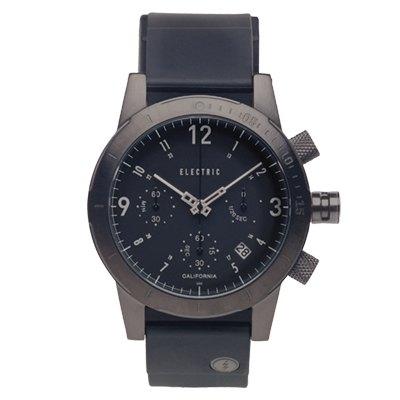 ELECTRIC FW02系列-復古強悍三眼計時腕錶-鐵灰殼x黑矽膠錶帶/44mm