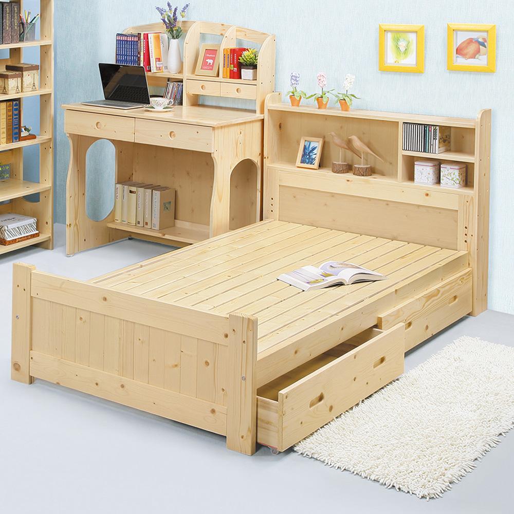 Boden-松木抽屜型單人床組(書架型收納床頭)(不含床墊)
