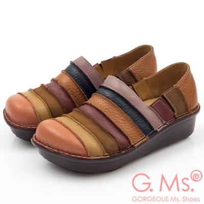 G.Ms. MIT系列-彩虹條紋全牛皮厚底懶人鞋-俏皮橘
