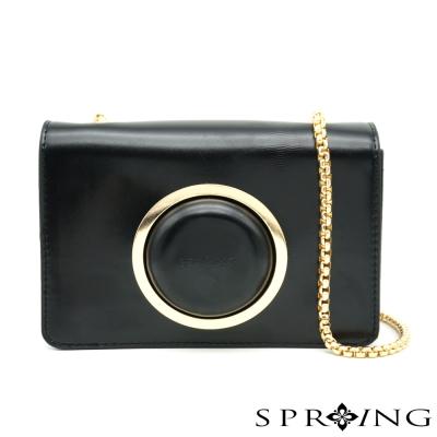 SPRING-Vintage-相機牛皮鏈包-黑