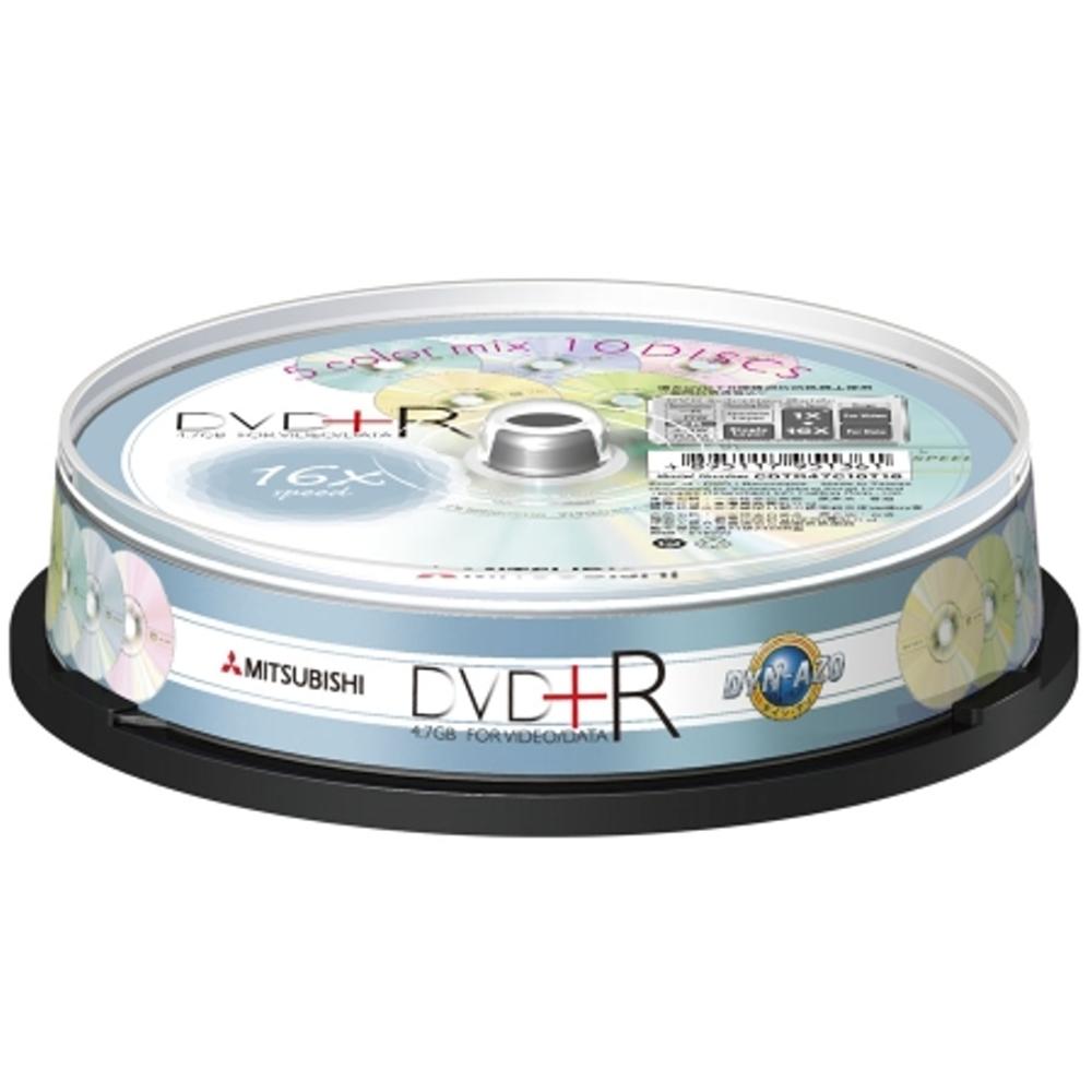 三菱 櫻花五彩版DVD+R 16X燒錄片 10片