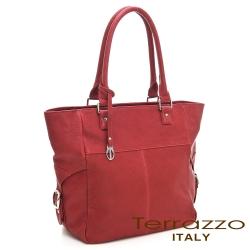 義大利Terrazzo-水洗羊皮簡約tote包-棗紅色23I4479A