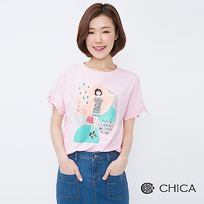 CHICA 雨天文藝女孩插畫蝴蝶結袖上衣(3色)