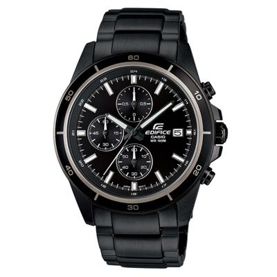 EDIFICE 精準時刻賽車計時黑離子IP腕錶(EFR-526BK-1A1)-黑X白圈/45mm