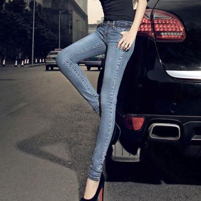 立體刷洗色窄管牛仔褲(藍色)-Kugi Girl