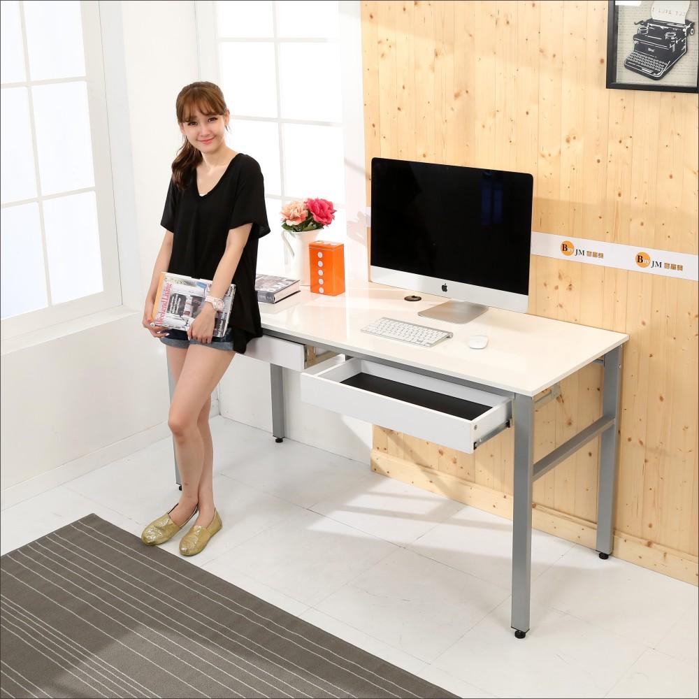 BuyJM 鏡面環保低甲醛雙抽屜穩重型工作桌-寬160公分-DIY