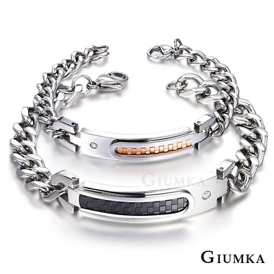 GIUMKA 永遠幸福著 白鋼情人手鍊-黑玫