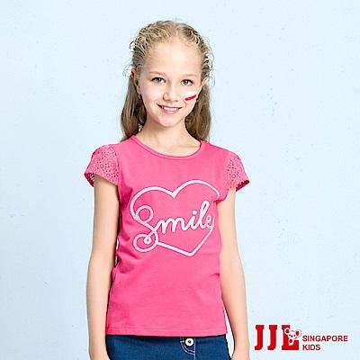 JJLKIDS smile英文印花蕾絲鏤空袖T恤(玫紅)