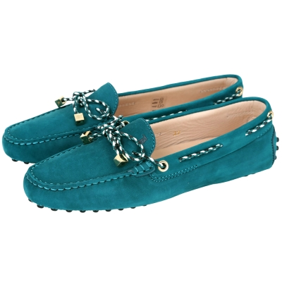 TOD'S Gommino Driving 撞色編織綁帶豆豆休閒鞋(綠色)