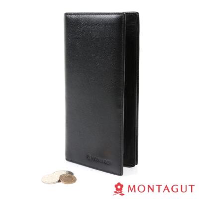 MONTAGUT夢特嬌-細皮紋頭層牛皮真皮 長夾 黑-8卡<b>2</b>照<b>3</b>夾<b>1</b>零