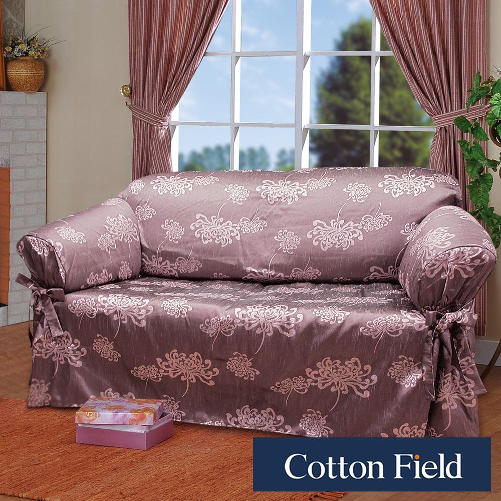棉花田【光燦】提花單人沙發便利套-藕紫色