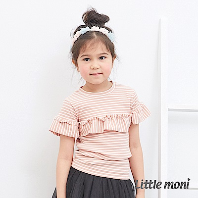 Little moni 荷葉短袖條紋上衣 (2色可選)