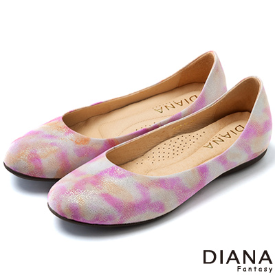 DIANA 獨特風格--粉彩雲朵羊皮娃娃鞋-粉