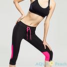 運動褲 拼色設計抽繩七分運動褲 (黑粉色)-AQUA Peach