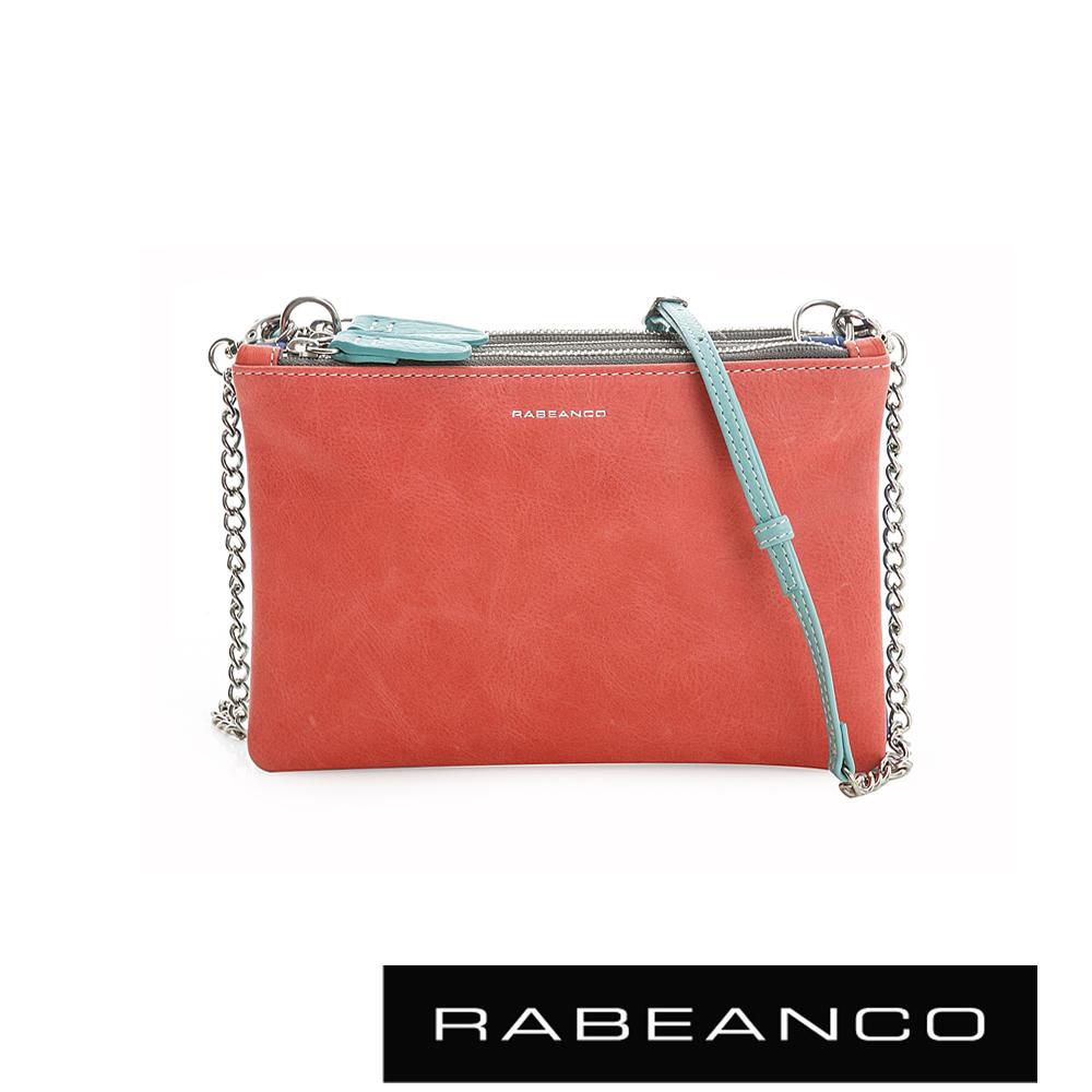 RABEANCO 三撞色鍊帶拉鍊牛皮小包 珊瑚紅X淺藍X藍