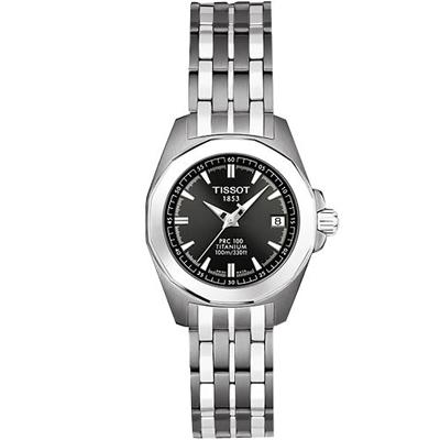 TISSOT PR100 鈦金屬 經典石英女錶-鐵灰/28mm
