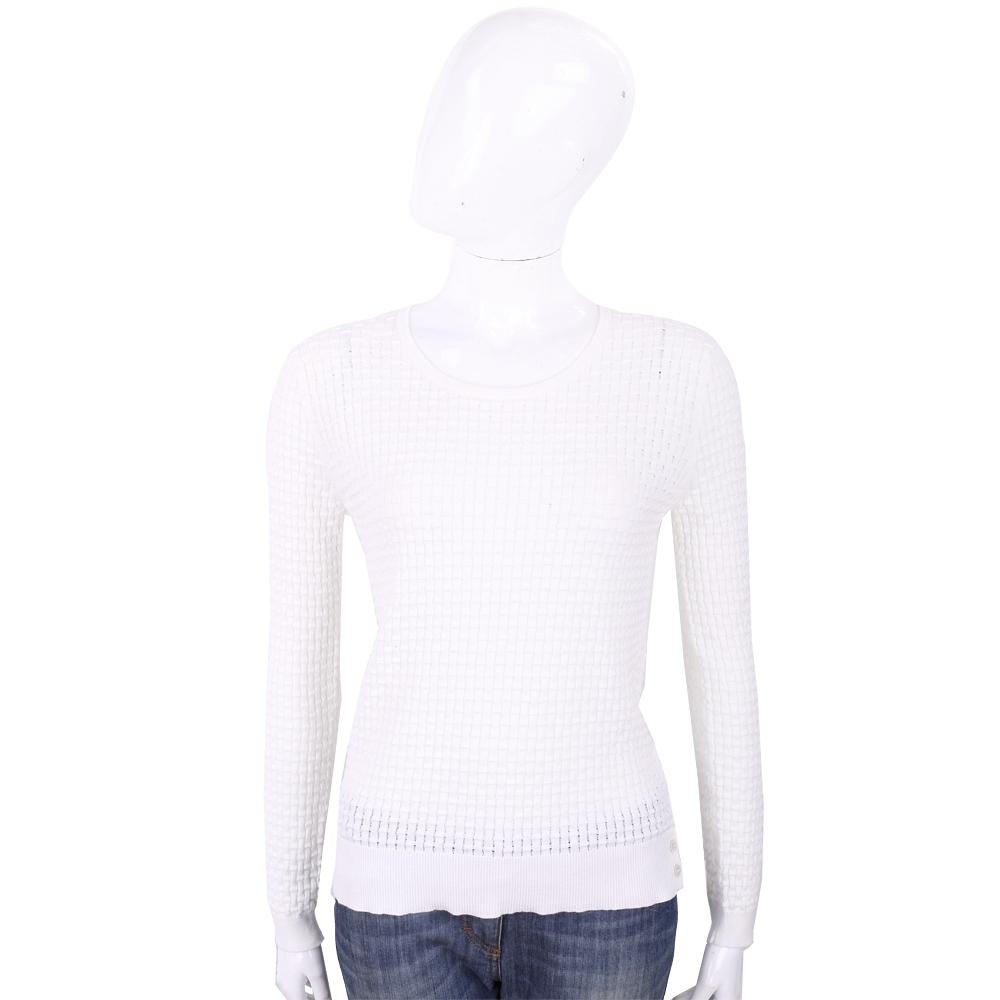 ALLUDE 白色竹節編織長袖圓領針織衫