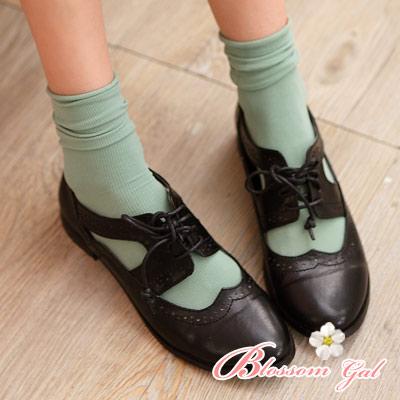 Blossom Gal韓製馬卡龍多彩直紋糖果襪2入組果綠
