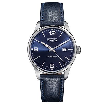 DAVOSA Gentlemen 現代經典紳士系列套裝腕錶-藍面/藍色車線皮帶/40mm