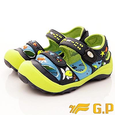 GP涼鞋 護趾磁扣涼鞋-SE610B-26 藍綠(中小童段)