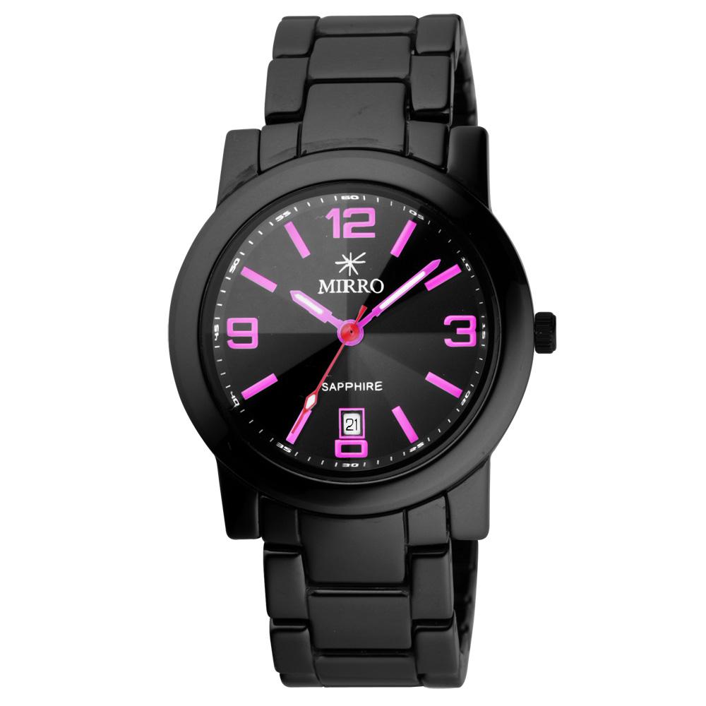 MIRRO 愛戀風潮陶瓷時尚腕錶-黑x粉紅/40mm