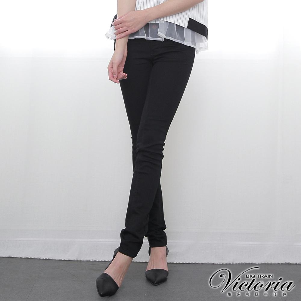 Victoria 低腰保暖紗繡花小直筒褲-女-黑色